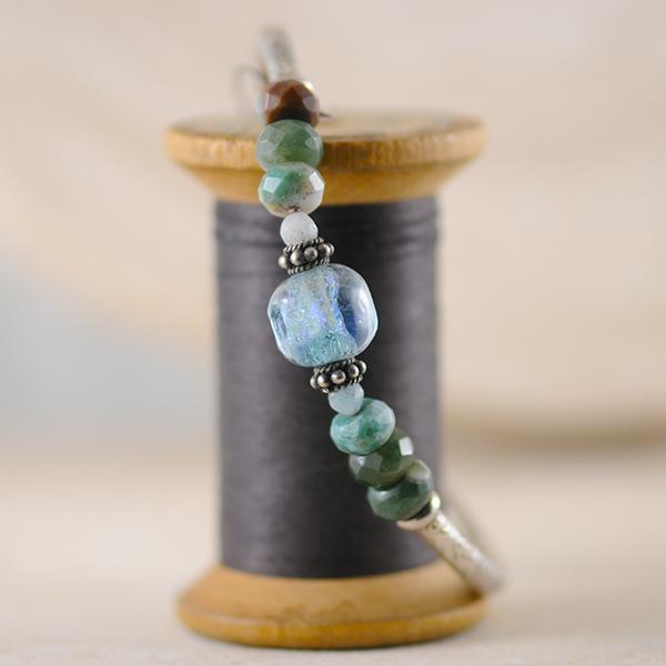 Murano Glass, Agate and Aquamarine Sterling Silver Bracelet