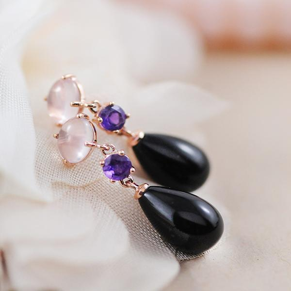 Onyx Amethyst and Rose Quartz Earrings