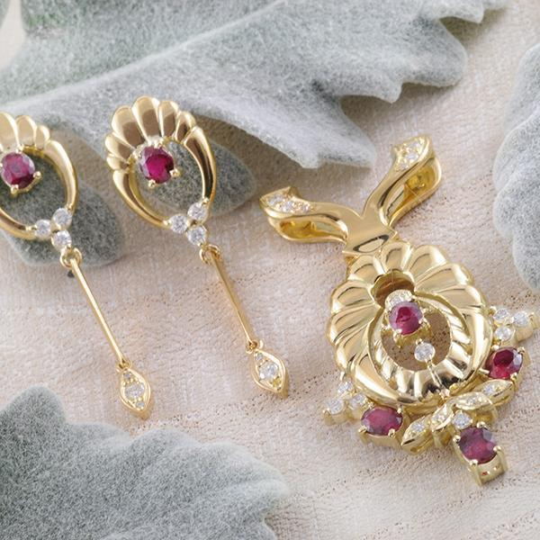 Ornate Yellow Gold Ruby Pendant and Earrings