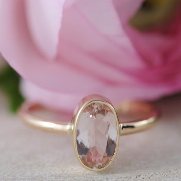 Oval Morganite Ring Bezel Set in 9k Yellow Gold