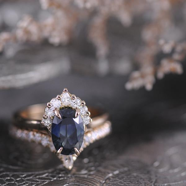 Parti Sapphire and Diamond Engagement Ring and Fitted Wedder
