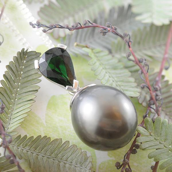 Pear Chrome Tourmaline & Tahitian Pearl Pendant set in 18k White Gold