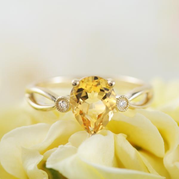 Pear Citrine and Diamond 9K Yellow Gold Ring with Split Band