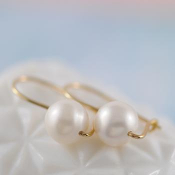 Pearl Earrings with Yellow Gold Euro Clasp