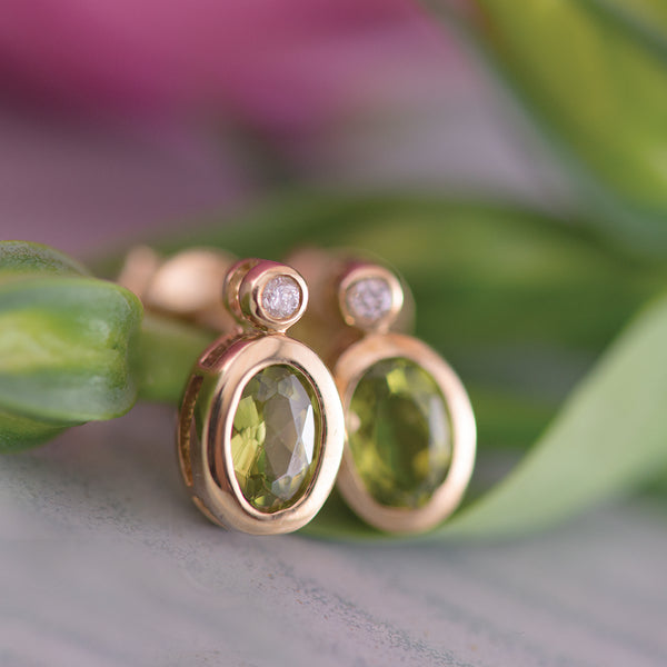 Peridot and Diamond Bezel set 9K Yellow Gold Earrings