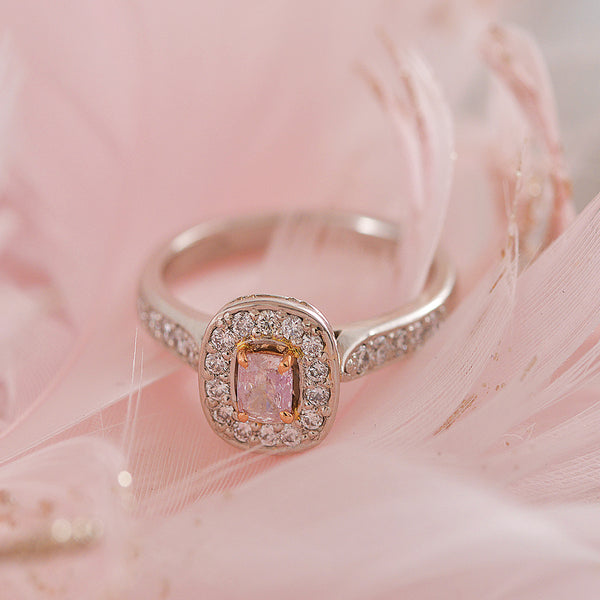 Pink Diamond Platinum Ring with White Diamond Halo