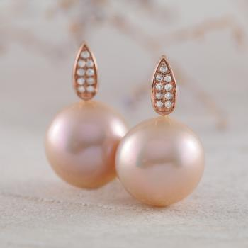 Pink Pearl and Diamond Earring