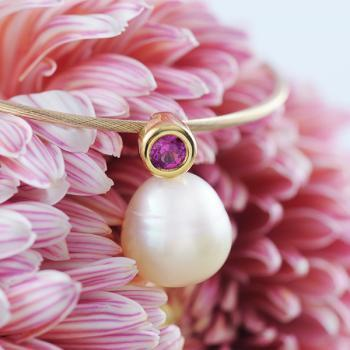 Pink Sapphire and Pale Golden South Sea Pearl Pendant in 18k Yellow Gold