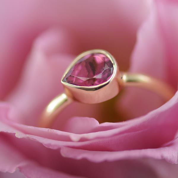 Pink Tourmaline Pear Bezel Ring in 9ct Yellow Gold