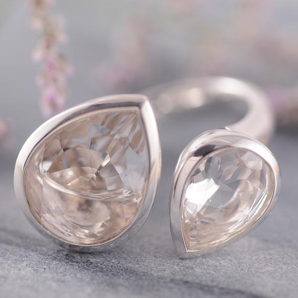Polished Rock Crystal Ring set in Sterling Silver