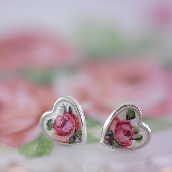 Rose Enamel Heart Sterling Silver Studs