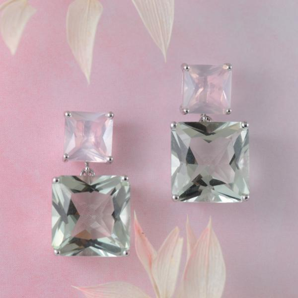 Rose Quartz And Green Amethyst Earrings in Sterling Silver