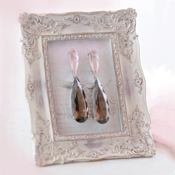 Rose & Smokey Quartz Magnificent Drop Earrings