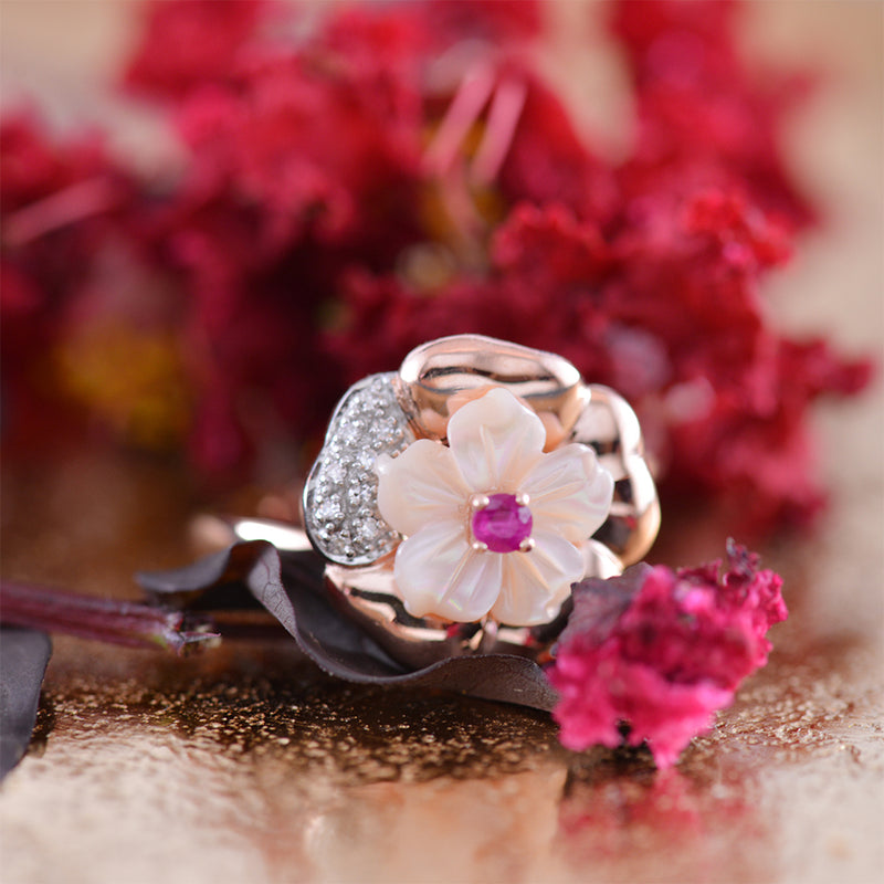 Ruby and carved Mother of Pearl, Diamond, Rose Gold 9k Ring