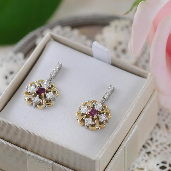 Ruby and Diamond Cluster Earrings in Yellow and White Gold
