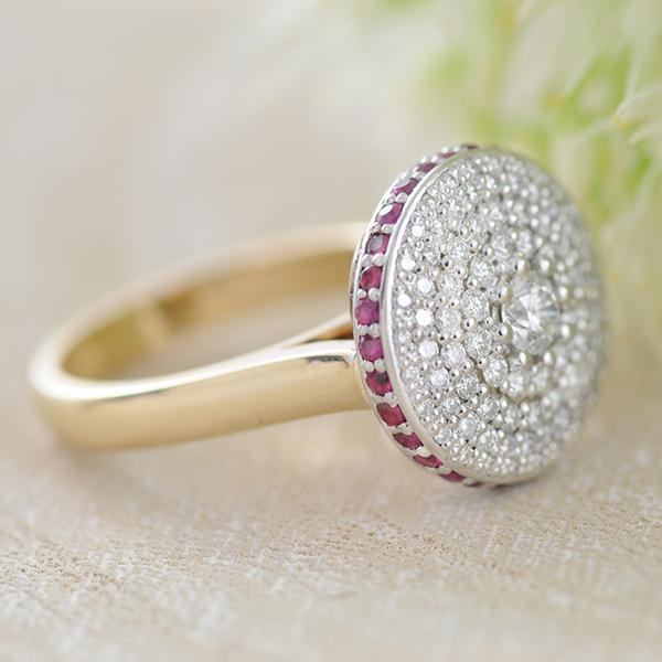 Ruby and Diamond Halo Dress Ring with Flower Basket in Yellow and White Gold