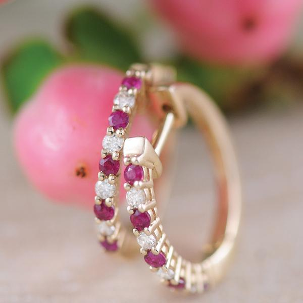 Ruby and Diamond Huggie Earrings in 9ct Yellow Gold