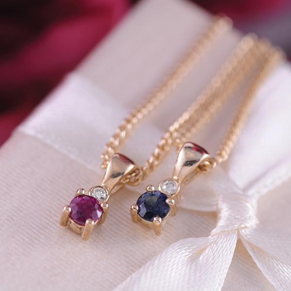 Ruby and Diamond Pendant in 9ct Yellow Gold