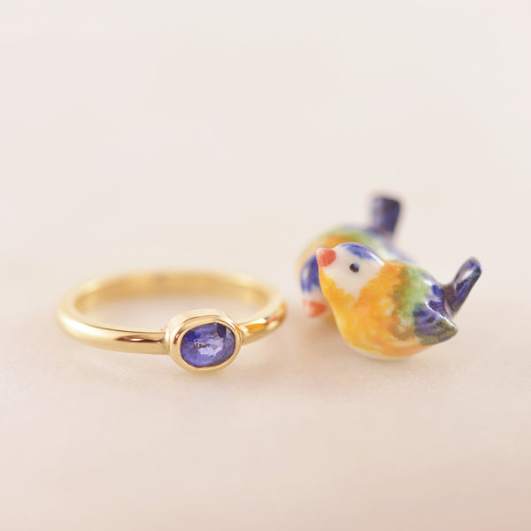Blue Sapphire Oval Gemstone Bezel set in 9K yellow Gold Ring - Hand-made.