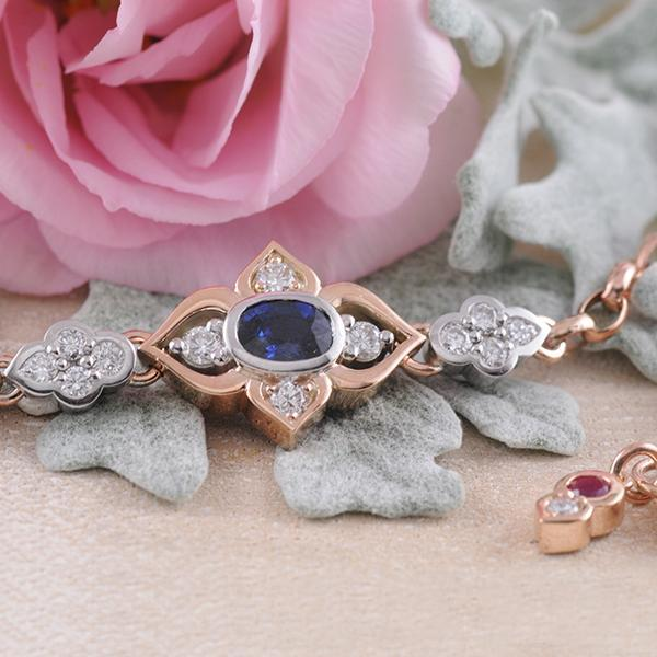 Sapphire, Ruby and Diamond Bracelet in Rose and White Gold