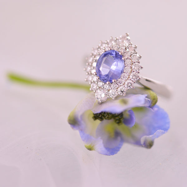 Sapphire and Diamond Double Halo Platinum Ring