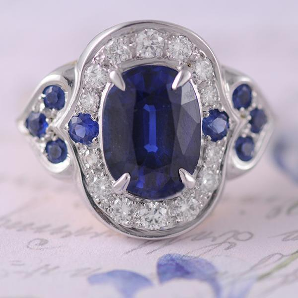 Sapphire and Diamond Dress Ring in White Gold