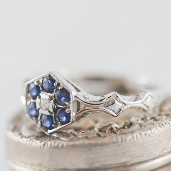 Sapphire and Diamond 9k White Gold Ring