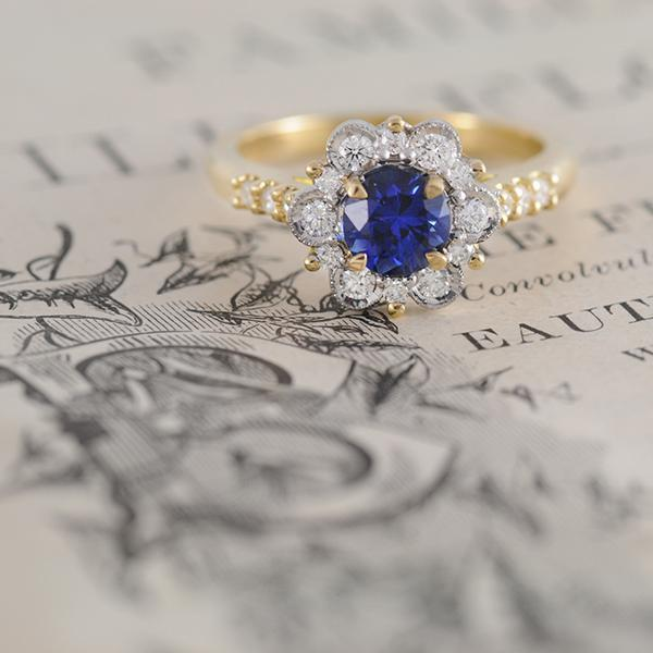 Sapphire and Diamond Vintage Inspired Ring