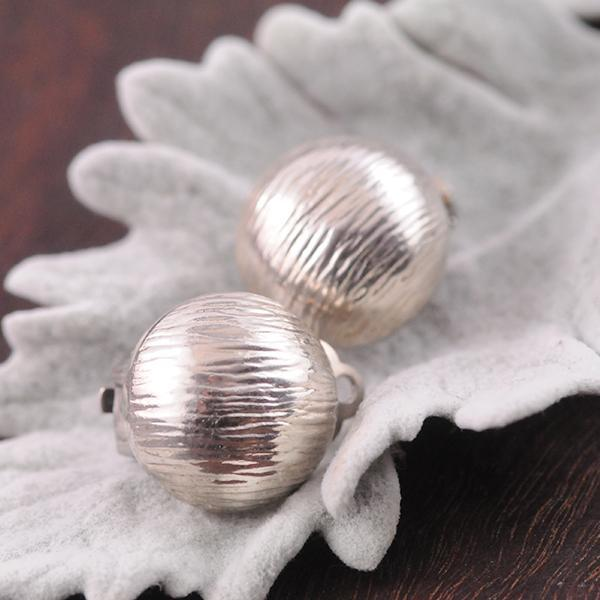 Silver Clip on Earrings Round Half Ball with deep line texture