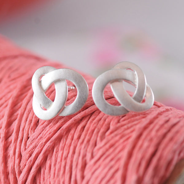 Silver Flat Knot Textured Earrings