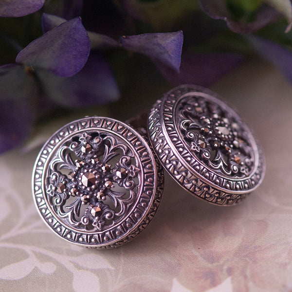 Marcasite Silver Button Earrings