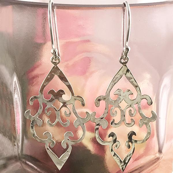 Silver Moroccan drop earrings intricate
