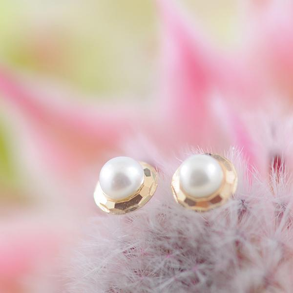 Small Pearl Studs Bezel Set in 9ct Yellow Gold