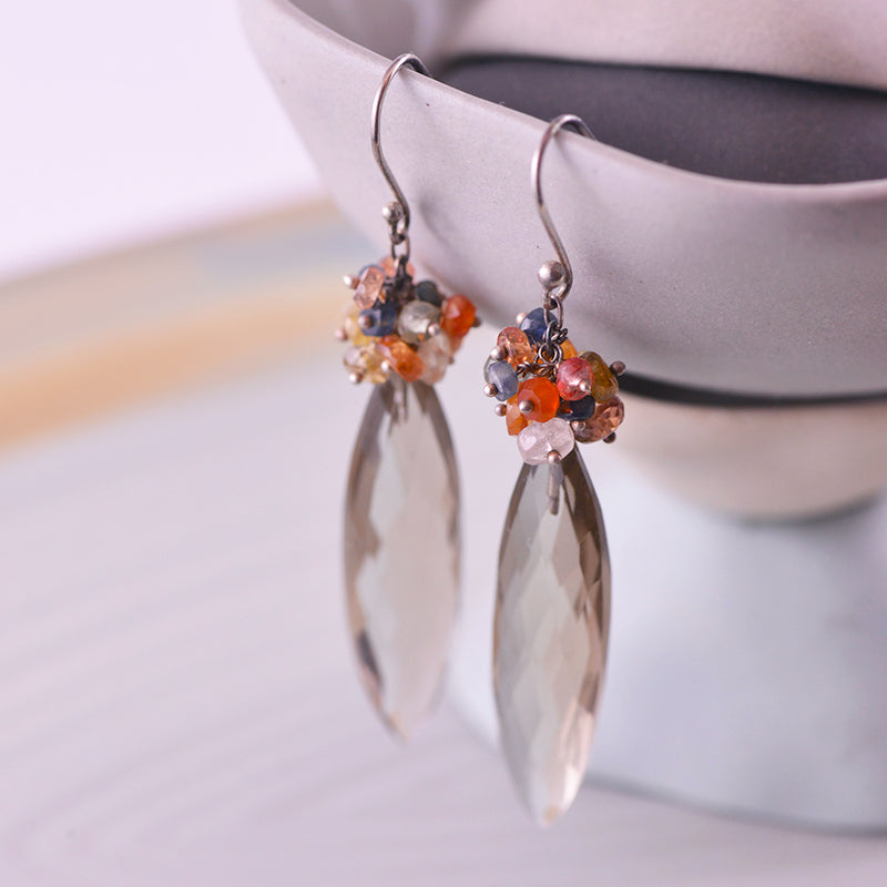 Sterling Silver Smokey Quartz Grape Drop Earrings