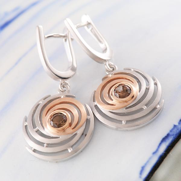 Smoky Quartz Swirl Earrings in Sterling Silver and Rose Gold Plating