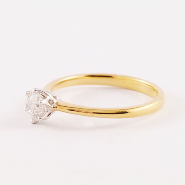 9K Solitaire Yellow and White Gold Diamond Ring