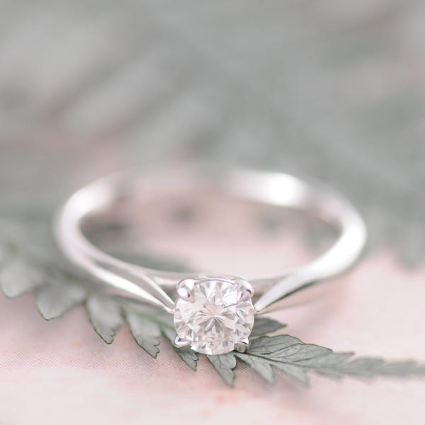 Solitaire Diamond Ring in Platinum & 18K White Gold