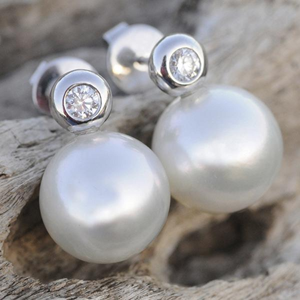 South Sea Pearl & Diamond Stud Earrings set in 18k White Gold