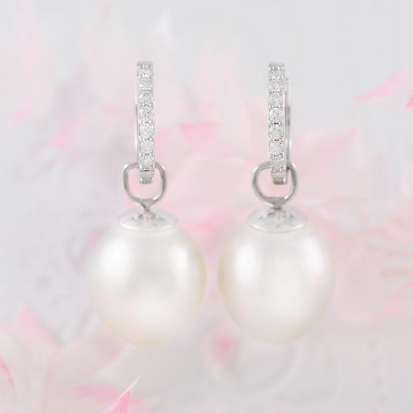 South Sea Pearl Earring Pendants in 18k White Gold