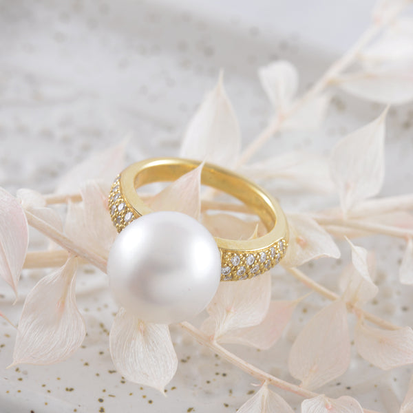 18k Yellow Gold South Sea Pearl and Diamond Ring