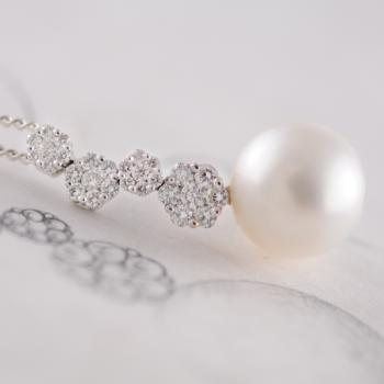 South Sea Pearl and Diamond 18K  White Gold Pendant