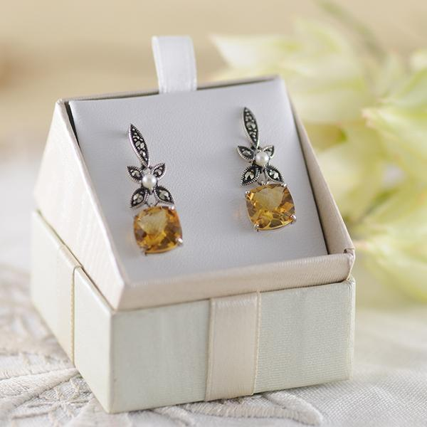 Citrine and Pearl Earrings set in Sterling Silver
