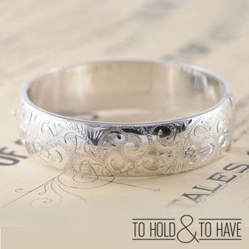 Sterling Silver Engraved Bangle with safety chain