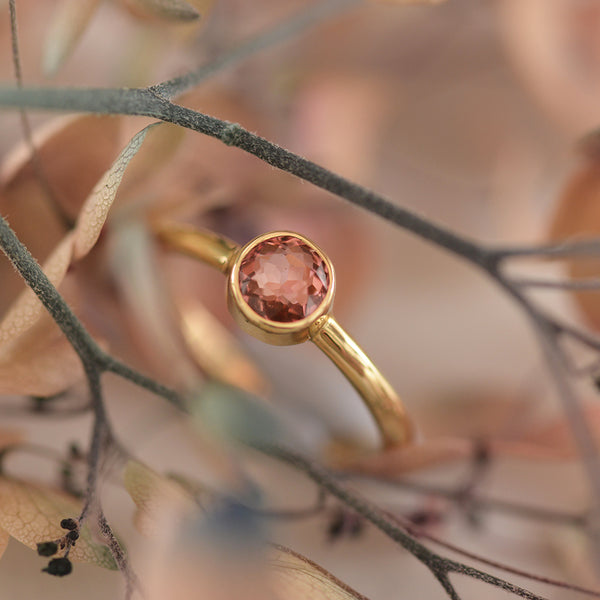 Yellow Gold Round Pink Tourmaline Bezel Set Ring