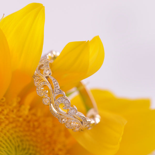 Diamond 9ct Yellow Gold Filigree Ring