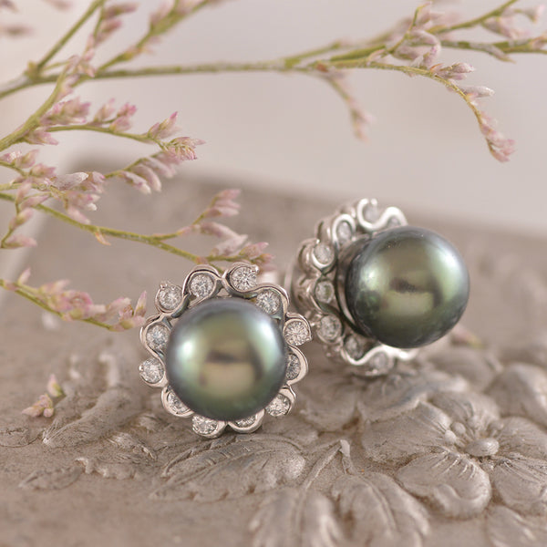 Tahitian Pearl with Diamond Swirl Halo Earring Studs