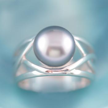 Tahitian Pearl Sterling Silver Crossover Ring