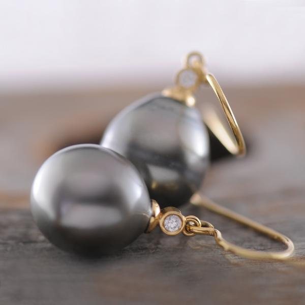 Tahitian Pearl and Diamond Earrings with 18k Yellow Gold Shepherd Hooks