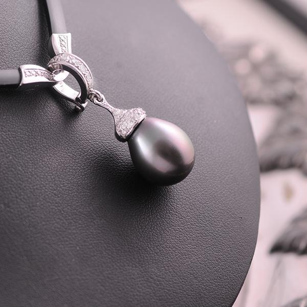 Tahitian Pearl and Diamond Pendant in 18k White Gold