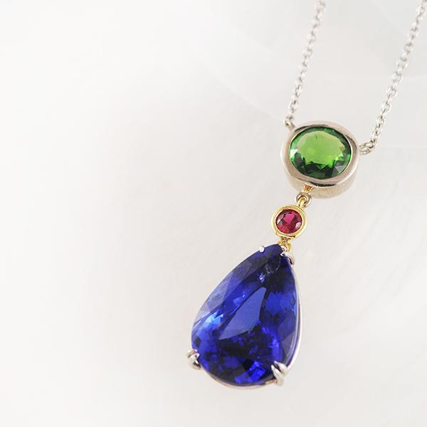 Tanzanite Ruby and Tsavorite 18k Yellow and White Gold Necklet